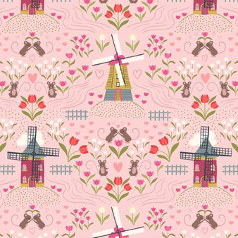 LEWIS & IRENE, TULIP FIELDS Windmills in Light rose - by the half-meter, ELEGANTE VIRGULE CANADA, Canadian Quilt Fabric Shop, Quilting Cotton