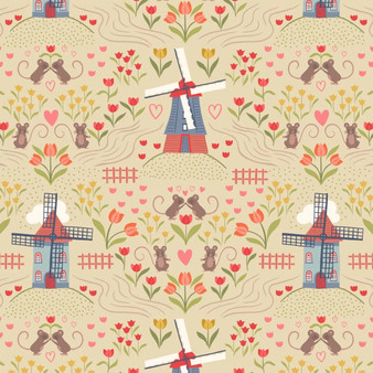 LEWIS & IRENE, TULIP FIELDS Windmills in Lemon - by the half-meter, ELEGANTE VIRGULE CANADA, Canadian Quilt Fabric Shop, Quilting Cotton