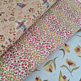 LEWIS & IRENE, TULIP FIELDS, Bundle of 3 fabrics, ELEGANTE VIRGULE CANADA, Canadian Quilt Fabric Shop, Quilting Cotton