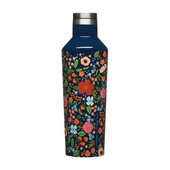 Wild Rose, Gloss Navy - RIFLE PAPER CO X CORKCICLE, 16 oz. Canteen - ELEGANTE VIRGULE CANADA, Canadian Gift, Fabric and Quilt Shop. Bottle, Thermos