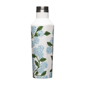 Hydrangea Cream - RIFLE PAPER CO X CORKCICLE, 16 oz. Canteen - ELEGANTE VIRGULE CANADA, Canadian Gift, Fabric and Quilt Shop. Bottle, Thermos