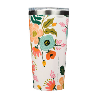 Lively Floral Cream - RIFLE PAPER CO X CORKCICLE, 16 oz. Tumbler - ELEGANTE VIRGULE CANADA, Canadian Gift, Fabric and Quilt Shop. Bottle, Thermos
