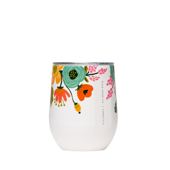 Lively Floral Cream - RIFLE PAPER CO X CORKCICLE, 12 oz. Stemless Wine Cup - ELEGANTE VIRGULE CANADA, Canadian Gift, Fabric and Quilt Shop. Bottle, Thermos