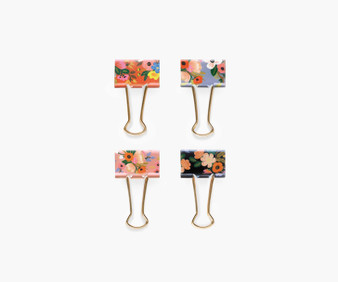 Lively Floral Binder Clips - RIFLE PAPER CO Stationery. Set of 8 - ELEGANTE VIRGULE CANADA, Canadian Gift, Fabric and Quilt Shop.