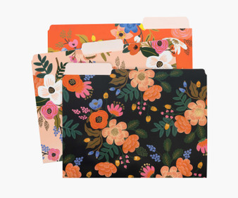Lively Floral Assorted File Folders - RIFLE PAPER CO Stationery. Set of 6 - ELEGANTE VIRGULE CANADA, Canadian Gift, Fabric and Quilt Shop.