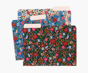 Wild Rose Assorted File Folders - RIFLE PAPER CO Stationery. Set of 6 - ELEGANTE VIRGULE CANADA, Canadian Gift, Fabric and Quilt Shop.