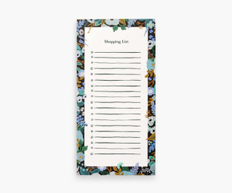 Garden Party Blue, Market pad with Magnet - RIFLE PAPER CO Stationery - ELEGANTE VIRGULE CANADA, Canadian Gift, Fabric and Quilt Shop.