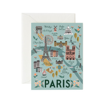 Paris City Card - RIFLE PAPER CO Card - ELEGANTE VIRGULE CANADA, Canadian Gift, Fabric and Quilt Shop.