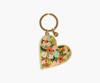 Floral Heart Enamel Keychain - RIFLE PAPER CO Accessories - ELEGANTE VIRGULE CANADA, Canadian Gift, Fabric and Quilt Shop.