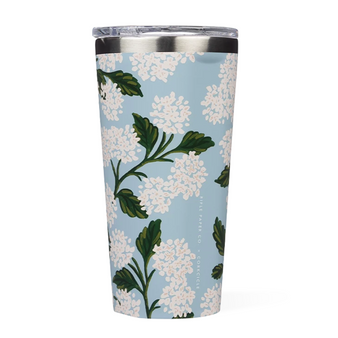 Hydrangea Blue - RIFLE PAPER CO X CORKCICLE, 16 oz. Tumbler - ELEGANTE VIRGULE CANADA, Canadian Gift, Fabric and Quilt Shop. Bottle, Thermos