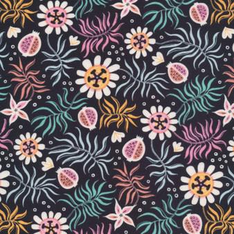 CLOUD 9 Fabrics, TROPICAL GARDEN in Charcoal Black - 100% ORGANIC Cotton - by the half-meter, ELEGANTE VIRGULE, CANADIAN FABRIC SHOP