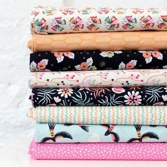 CLOUD 9, TROPICAL GARDEN - Bundle of 8 Fabrics ORGANIC Cotton,  ELEGANTE VIRGULE, CANADIAN FABRIC SHOP