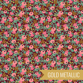 RIFLE PAPER CO, Garden Party ROSA in Burgundy,  ELEGANTE VIRGULE CANADA, CANADIAN FABRIC QUILT SHOP, Quiting Cotton