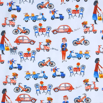 WINDHAM Fabrics Organic, OOH LA LA Street Life in Blue,  100% ORGANIC Cotton - by the half-meter, ELEGANTE VIRGULE CANADA, CANADIAN FABRIC SHOP, Quilting Cotton