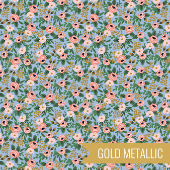 RIFLE PAPER CO, Garden Party ROSA in Chambray Metallic,  ELEGANTE VIRGULE CANADA, CANADIAN FABRIC QUILT SHOP, Quilting Cotton