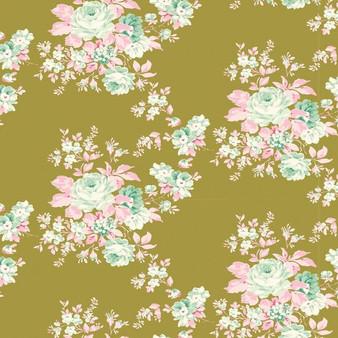 TILDA HARVEST,  Autumn Rose in Green - Elegante Virgule Canada, Quilting Cotton, Canadian Quilt Shop