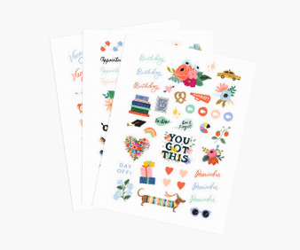 Sticker Sheets - RIFLE PAPER CO Stationery. Set of 3 - ELEGANTE VIRGULE CANADA, Canadian Gift, Fabric and Quilt Shop.
