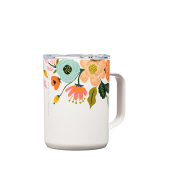 Lively Floral Cream - RIFLE PAPER CO X CORKCICLE, 16 oz. Coffee Mug - ELEGANTE VIRGULE CANADA, Canadian Gift, Fabric and Quilt Shop. Bottle, Thermos