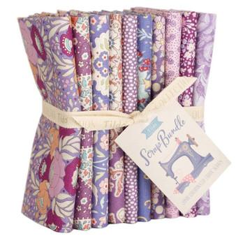 TILDA SCRAP BUNDLE Purple / Lavender / Mauve, FQ Bundle of 10 fabrics  - Elegante Virgule Canada, Quilting Cotton, Canadian Quilt Shop