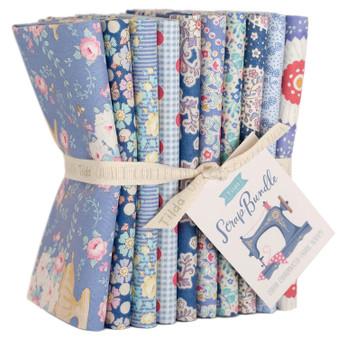 TILDA SCRAP BUNDLE Blue, FQ Bundle of 10 fabrics  - Elegante Virgule Canada, Quilting Cotton, Canadian Quilt Shop