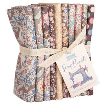 TILDA SCRAP BUNDLE Brown / Sand / Creme, FQ Bundle of 10 fabrics  - Elegante Virgule Canada, Quilting Cotton, Canadian Quilt Shop