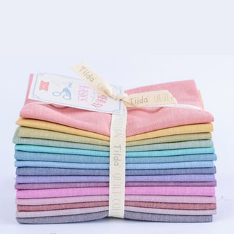 TILDA Chambray Basics, Bundle of 15 fabrics, 100% Cotton. TILDA BASICS, Elegante Virgule Canada, Canadian Quilt Shop, Quilting Cotton