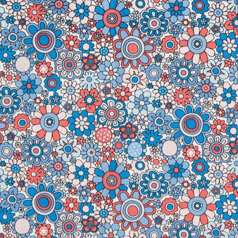 LIBERTY FABRICS, CARNABY COLLECTION Retro Indigo - Paradise Petals A Red Blue - by the half-meter - ELEGANTE VIRGULE CANADA, Canadian Quilting Shop - Liberty of London, Quilting Cotton