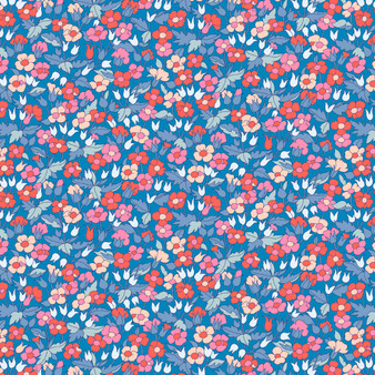 LIBERTY FABRICS, CARNABY COLLECTION Retro Indigo - Piccadilly Poppy A Blue - by the half-meter - ELEGANTE VIRGULE CANADA, Canadian Quilting Shop - Liberty of London, Quilting Cotton