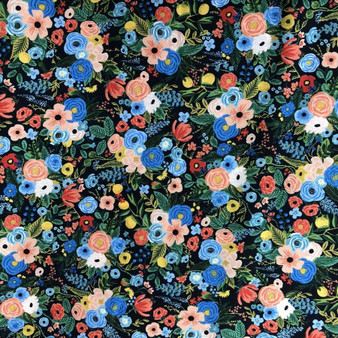 RIFLE PAPER CO, WILDWOOD Petite Garden Party in Navy, 100% RAYON - by the half-meter -  ELEGANTE VIRGULE CANADA, CANADIAN FABRIC SHOP, QUILTING SHOP
