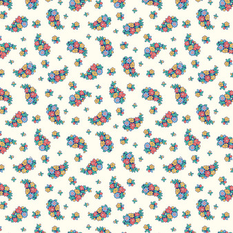LIBERTY FABRICS, CARNABY COLLECTION Bohemian Brights - Portobello Paisley D Cream - by the half-meter - ELEGANTE VIRGULE CANADA, Canadian Quilting Shop - Liberty of London, Quilting Cotton