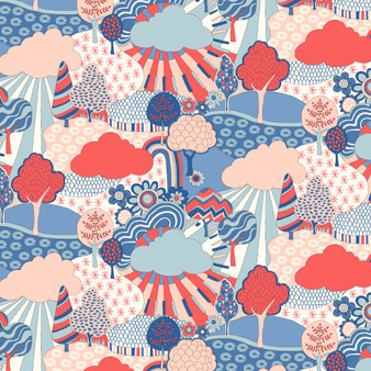 LIBERTY FABRICS, CARNABY COLLECTION Retro Indigo - Sunny Afternoon A Blue Red - by the half-meter - ELEGANTE VIRGULE CANADA, Canadian Quilting Shop - Liberty of London, Quilting Cotton