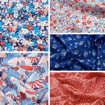 LIBERTY FABRICS, CARNABY COLLECTION Retro Indigo - FQ Bundle of 5 fabrics - ELEGANTE VIRGULE CANADA, Canadian Quilting Shop - Liberty of London, Quilting Cotton