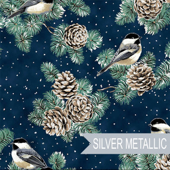 HOFFMAN, FIRST SNOWFALL Chickadees in Navy Blue and Silver Metallic  - Elegante Virgule Canada, Quilting Cotton, Montreal Quebec Quilt Shop