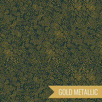 RIFLE PAPER CO BASICS, Menagerie Champagne in Evergreen Metallic - by the half-meter - Elegante Virgule Canada, Canadian Fabric Quilt Shop, Quilting Cotton