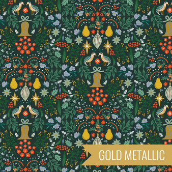 RIFLE PAPER CO HOLIDAY CLASSICS, Partridge in Evergreen Metallic - by the half-meter - by the half-meter - Elegante Virgule Canada, Canadian Fabric Quilt Shop, Quilting Cotton
