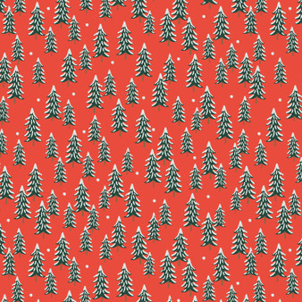 RIFLE PAPER CO HOLIDAY CLASSICS, Fir Trees in Red - by the half-meter - by the half-meter - Elegante Virgule Canada, Canadian Fabric Quilt Shop, Quilting Cotton