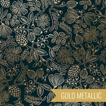 RIFLE PAPER CO, PRIMAVERA Stars in Black Metallic,  ELEGANTE VIRGULE CANADA, CANADIAN FABRIC QUILT SHOP, Quilting Cotton