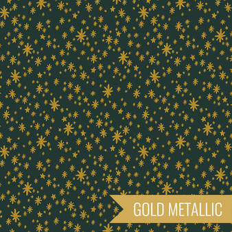 RIFLE PAPER CO HOLIDAY CLASSICS, Starry Night in Evergreen Metallic - by the half-meter - by the half-meter - Elegante Virgule Canada, Canadian Fabric Quilt Shop, Quilting Cotton
