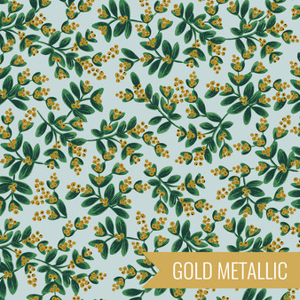 RIFLE PAPER CO HOLIDAY CLASSICS, Mistletoe in Mint Metallic - by the half-meter - by the half-meter - Elegante Virgule Canada, Canadian Fabric Quilt Shop, Quilting Cotton