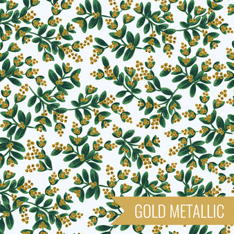 RIFLE PAPER CO HOLIDAY CLASSICS, Mistletoe in White Metallic - by the half-meter - by the half-meter - Elegante Virgule Canada, Canadian Fabric Quilt Shop, Quilting Cotton