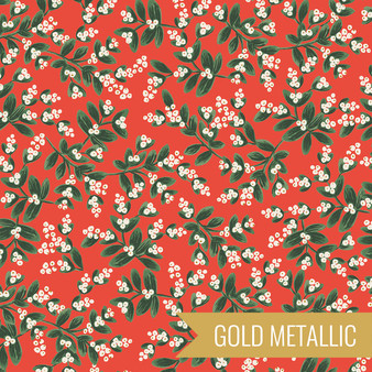 RIFLE PAPER CO HOLIDAY CLASSICS, Mistletoe in Red Metallic - by the half-meter - by the half-meter - Elegante Virgule Canada, Canadian Fabric Quilt Shop, Quilting Cotton