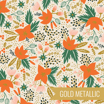 RIFLE PAPER CO HOLIDAY CLASSICS, Poinsettia in Cream Metallic - by the half-meter - by the half-meter - Elegante Virgule Canada, Canadian Fabric Quilt Shop, Quilting Cotton