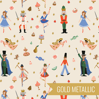 RIFLE PAPER CO HOLIDAY CLASSICS, Land of Sweets in Cream Metallic - by the half-meter - by the half-meter - Elegante Virgule Canada, Canadian Fabric Quilt Shop, Quilting Cotton