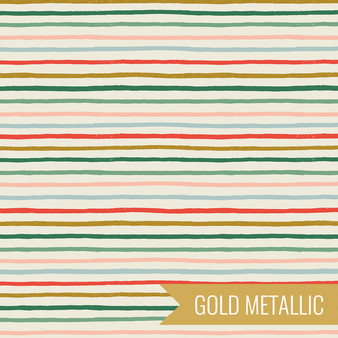 RIFLE PAPER CO HOLIDAY CLASSICS, Festive Stripe in Multi Metallic - by the half-meter - by the half-meter - Elegante Virgule Canada, Canadian Fabric Quilt Shop, Quilting Cotton