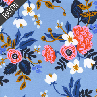 RIFLE PAPER CO,  LES FLEURS Birch in Periwinkle 100% RAYON - by the half-meter, ELEGANTE VIRGULE CANADA, CANADIAN FABRIC SHOP, Quilting Cotton