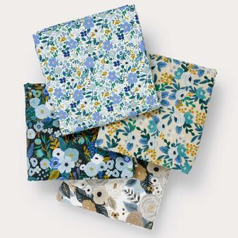 RIFLE PAPER CO,  GARDEN PARTY Blue Floral, Bundle of 4 fabrics -  ELEGANTE VIRGULE CANADA, CANADIAN FABRIC QUILT SHOP, Quilting Cotton