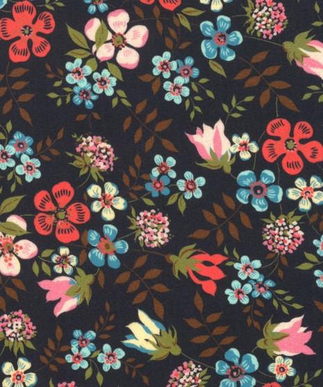 LIBERTY OF LONDON - EDENHAM Midnight Black 100% Cotton Tana Lawn, Per Half-Meter, CANADIAN SHOP. LIBERTY IN CANADA, Elegante Virgule