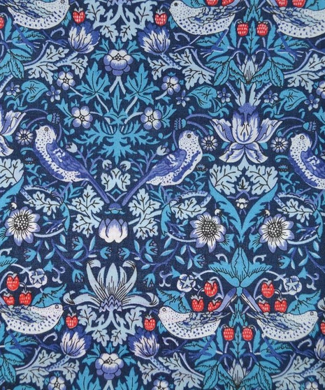 LIBERTY OF LONDON - STRAWBERRY THIEF M Blue 100% Cotton Tana Lawn, Per Half-Meter. CANADIAN SHOP. LIBERTY IN CANADA