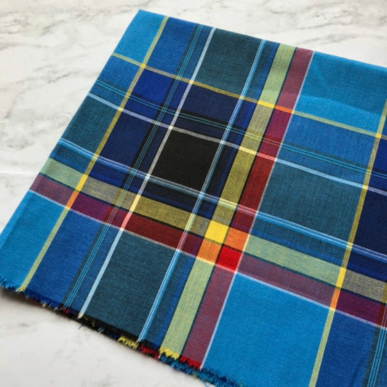 BLUE GOTHIC Madras 100% cotton, Width 60 inches (150 cm), Per Half-Meter. CANADIAN SHOP. Elegante Virgule Canada
