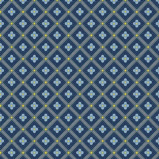 LIBERTY OF LONDON Quilting cotton, Manor Tile X in Navy, ELEGANTE VIRGULE